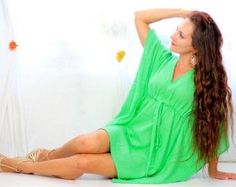 Mini Caftan Dress - Beach Cover Up Kaftan in Parrot Green Cotton Gauze - 20 Colors - Greenery