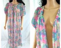 Vintage Nylon Peignoir. Long Robe. Maxi. Pastel Pink. Blue. Green. Medium. 1960s. Retro. Under 50. Cover Up. Lingerie. Sheer. Floral.