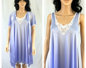 Vintage Lavender Nylon Nightgown and Robe Set. Small. Cinema Exoile. White Lace. Short Nightgown. 1980s. Lingerie. Matching Set. Under 50.