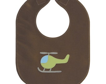 Helicopter Baby Bib, Reversible with Food Catcher available in baby or toddler size, with option to presonalize the pocket