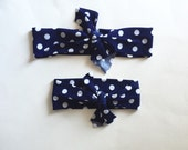 Top Knot Headband Matching Set, Mommy and Me, Headband Set, Navy Polka Dot