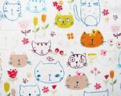 Japanese Cotton Fabric - Cat Doodles - Fat Quarter LIMITED YARDAGE