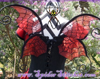 Durable Wearable Red Witchy Spider Web Wings by Spider Stitches