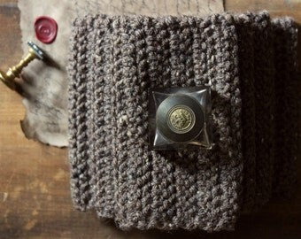 The House of the Notary Storyteller Scarf. Rustic Textured Bohochic Hand Crocheted Neutral Cowl Infinity Circle Scarf.