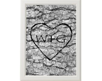 Custom Wedding Print / Faux Wood Print / Romantic Wall Decor /  Wedding Print / Carved heart /  Gray Home Decor / Monogram Prints