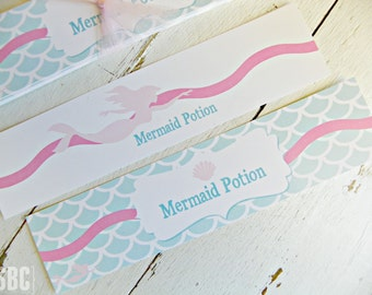 Mermaid Water Bottle Labels...Set of 12 Water Bottle Labels