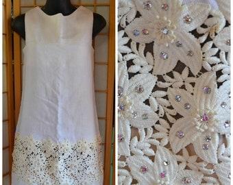 60s white linen mini dress with rhinestone lace trim womens size small