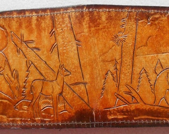Single Fold Wallet with Hand Carved Deer Family