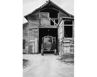 Farm Photography, Tractor Photo, Barn Photograph, Rustic Wall Decor, Fine Art Print, The Adirondacks, Black and White, Grey, Monochrome