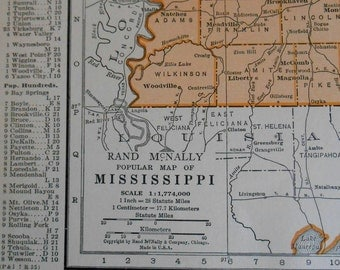 Old Mississippi Map, 1930s Vintage US State atlas Map