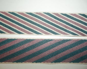 "Reversible Tapestry Ribbon Trim Dark Green Mauve Pink Stripe Conso Woven 4 Yards Long 2"" Wide Woven Jacquard"