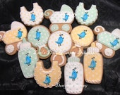 Bluebird Baby Shower Cookies - 12 Cookies