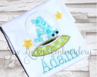 Spaceship Alphabet Personalized Embroidered Shirt