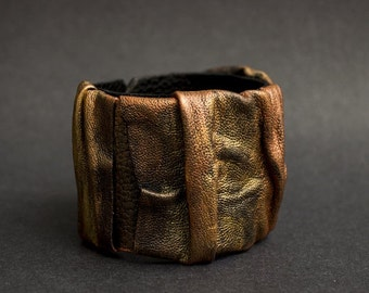 50% OFF SALE Leather cuff bracelet Copper and gold casual Leather jewelry Wristband Wide bracelet