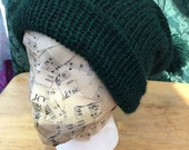 Forrest Green knit alpaca hat, with topper
