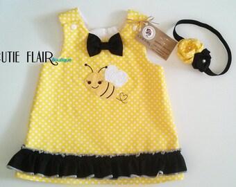 Bumble Bee Dress and Matching Headband, Bumble Bee A line Dress, Bumble Bee Jumper, Bumble Bee 1st Birthday Dress, Size 6-12M  Ready to Ship