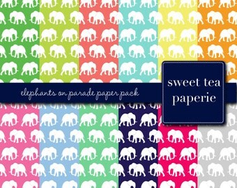 Elephants on Parade Digital Paper Pack (Instant Download)