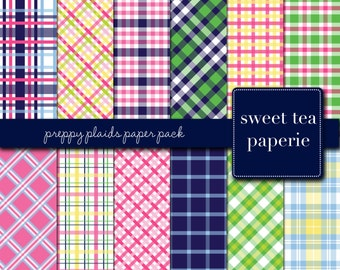 Buy2Get1Free with Code XMASINJULY! Preppy Plaids Digital Paper Pack (Instant Download)