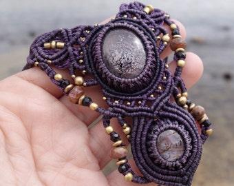 Purple Sapphire Corundum Macrame Necklace | Double Pendant | Micro-Macrame | Unisex, Healing Crystal Jewelry