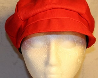 Vintage Newsboy or Gatsby Style Hat, Bright Red, 1980's