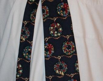 Vintage Christmas Necktie by Croft & Barrow, Printed in Italy, 1980's Era