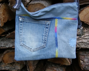 Re-purposed Jeans Zippered Shoulder Bag