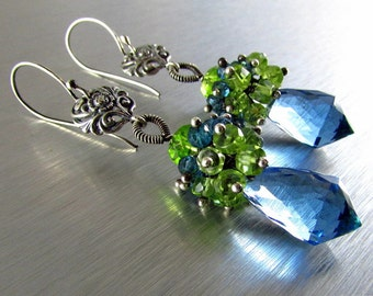 London Blue Quartz, London Blue Topaz and Peridot and Vesuvianite Cluster Sterling Silver Earrings