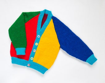 Baby Boys Harlequin Cardigan. Hand Knit Cardigan. Hand Knit Sweater. Hand Knit Childrenswear.