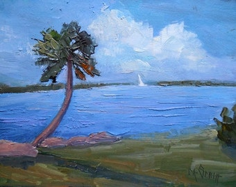 "Tropical Landscape Painting, Florida Painting, Waterscape, ""Sunday Sail"" , 6x8"" oil painting"