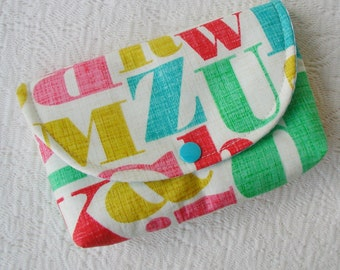 Large Snap Pouch .. Just My Type Letterpress in Multi