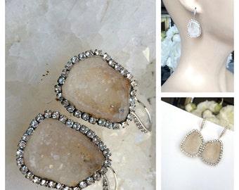 Ivory White Geode Gemstone Slice Earrings Pave Diamond Style Swarovski Crystal Statement Earrings Tabasco Geode Raw Slice