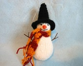 Snowman Christmas Ornament, Harry Potter Inspired, Black Hat, Scarf and Twig Arms, Holidays, Fantasy, Winter, Magical