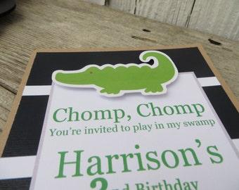 Alligator Birthday Invitations, 1st Birthday Invite, Boy Birthday Invitations , Alligator Embellished Birthday Invitation, Choose The Colors