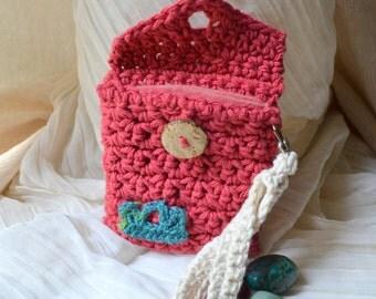 Tiara Crochet Purse - Handmade, Hand-Crocheted -Detachable Wristlet Handle, Small Lined Bag, Travel, Tarot, Pendulum, iPod, Free US Shipping