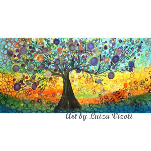 """Extra Large Painting 75"""" Original Whimsical KALAMATA OLIVE Tree  Painting HUGE Canvas by Luiza Vizoli"""