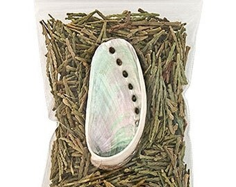 Cedar and mini abalone shell smuding kit - wildcrafted incense similar to sage - california sustainably harvested 3/4 inch bag leaves needle