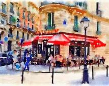 Paris France, Cafe Scene, French Street Scene, Original artwork by me, Giclee Print, Home Decor, Art Prints Posters, Paris Decor, Gift