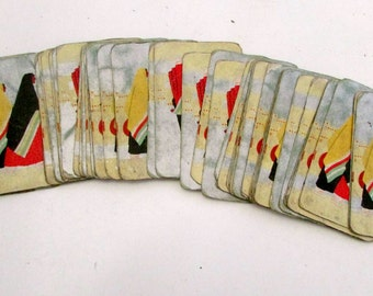 Art Deco Playing Cards Vintage 1930s Mideastern Ladies Colorful Congress playing cards