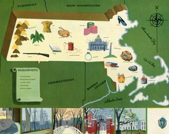 VIntage Pictorial Map of Massachusetts 1939 World's Fair