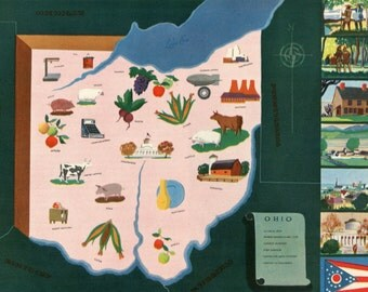 VIntage Pictorial Map of Ohio 1939 World's Fair