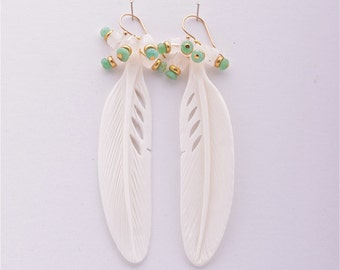 Feather, Moonstone & Crysoprase Earrings