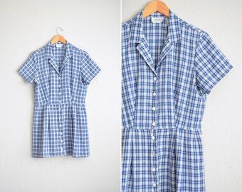 vintage '90s BLUE & white PLAID button-front short sleeve SHIRTDRESS. size l.