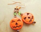 Orange Magnesite Pumpkin Earrings, Dangle Earrings, Halloween Jewelry, Copper or Silver, Handcrafted Jewelry, Fall Jewelry, Pumpkin Jewelry