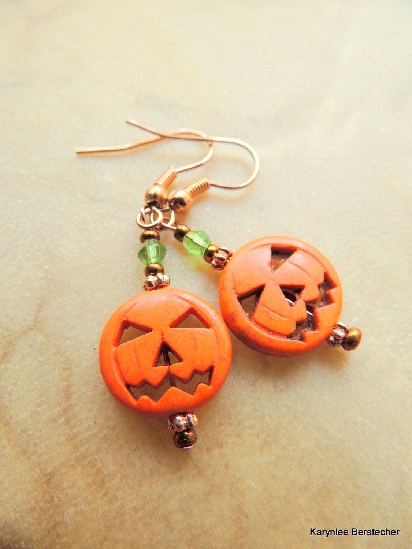 orange magnesite pumpkin earrings dangle earrings
