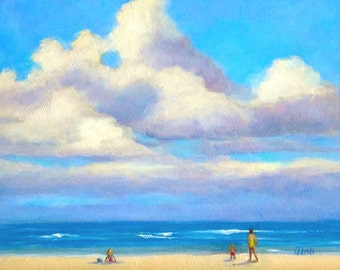 "Oil Painting, ""Beach People,"" 8x10 Oil on Canvas Panel, Small Daily Painting Seascape with Clouds"