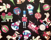 COUPON Code SALE - Christmas Elegance, Ornaments, Black, Dan Morris, RJR Fabrics, 100% Cotton Quilt Fabric, Quilting Fabric