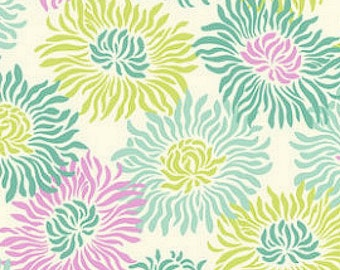 Heather Bailey, Fresh Cut, Graphic Mums Turquoise, Free Spirit Fabrics, Designer Cotton Quilt Fabric, Floral Fabric, Quilting Fabric