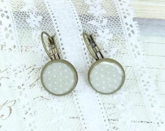 Polka Dot Earrings Gray Dangle Earrings Vintage Style Earrings Polka Dot Jewelry Retro Earrings Gray Earrings
