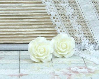 Cream Rose Studs Rose Earrings Cream Flower Earring Surgical Steel Studs Cream Rose Earrings Cream Studs