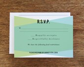 Printable RSVP Card - Response Card Download - Instant Download - RSVP Template -  Aqua & Turquoise Geometric Response Card - Response Card